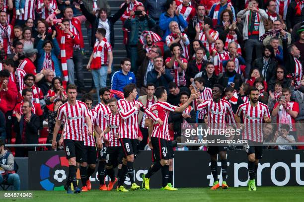 Aritz Aduriz of Athletic Club celebrates after scoring goal during the La Liga match between Athletic Club Bilbao and Real Madrid at San Mames...