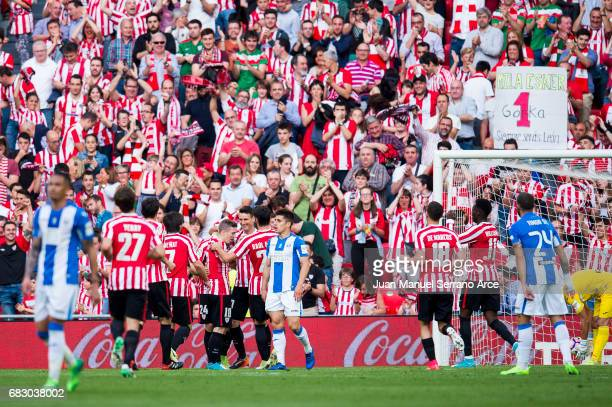 Aritz Aduriz of Athletic Club celebrates after scoring goal during the La Liga match between Athletic Club Bilbao and Club Deportivo Leganes at San...