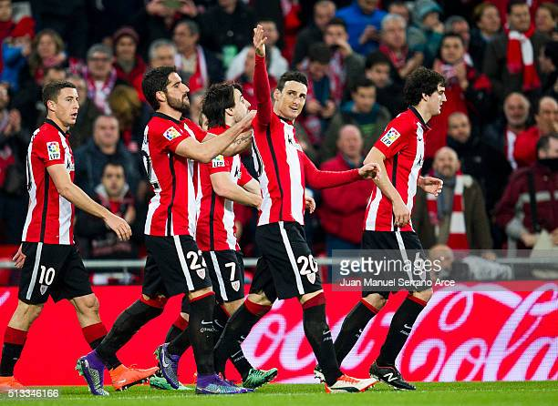Aritz Aduriz of Athletic Club celebrates after scoring his team's fourth goal during the La Liga match between Athletic Club Bilbao and RC Deportivo...