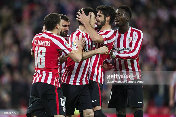 Aritz Aduriz of Athletic Club celebrates after scoring his team's second goal during the La Liga match between Athletic Club Bilbao and Real Sporting...