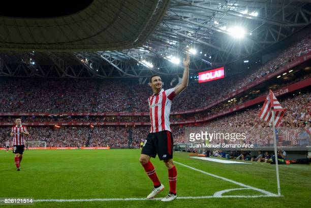 Aritz Aduriz of Athletic Club celebrates after scoring his team's third goal during the UEFA Europa League Third Qualifying Round Second Leg match...