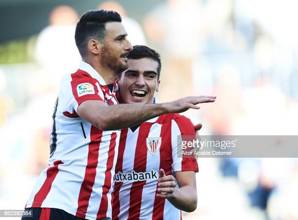 Aritz Aduriz of Athletic Club celebrates after scoring with Inigo Cordoba of Athletic Club during the La Liga match between Malaga and Athletic Club...