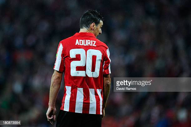 Aritz Aduriz of Athletic Club looks on during the La Liga match between Athletic Club and RC Celta de Vigo at San Mames Stadium on September 16 2013...