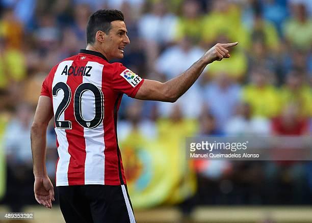 Aritz Aduriz of Athletic Club reacts during the La Liga match between Villarreal CF and Athletic Club de Bilbao at El Madrigal Stadium on September...