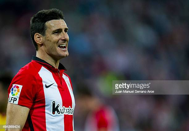 Aritz Aduriz of Athletic Club reacts during the La Liga match between Athletic Club and Real Sporting de Gijon at San Mames Stadium on October 26...