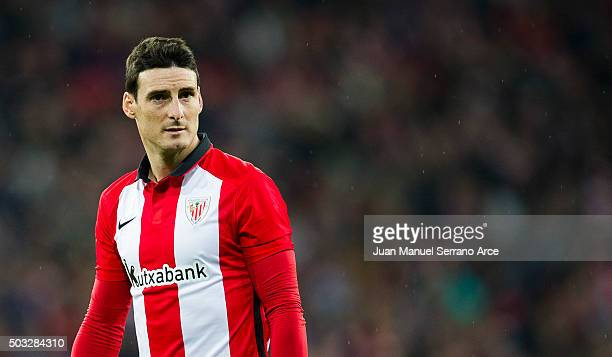 Aritz Aduriz of Athletic Club reacts during the La Liga match between Athletic Club and UD Las Plamas at San Mames Stadium on January 3 2016 in...