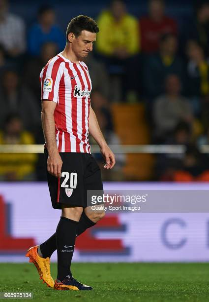 Aritz Aduriz of Athletic Club reacts during the La Liga match between Villarreal CF and Athletic Club at Estadio de la Ceramica on April 7 2017 in...