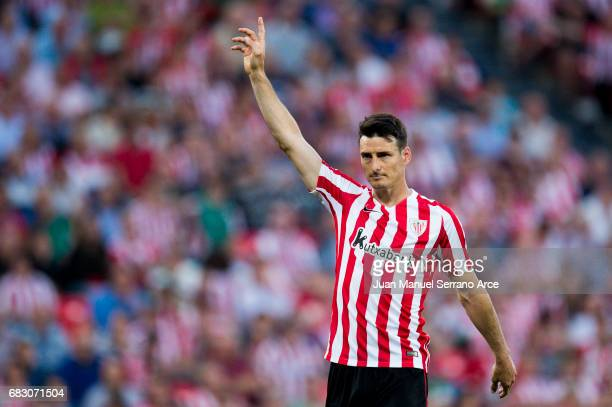 Aritz Aduriz of Athletic Club reacts during the La Liga match between Athletic Club Bilbao and Club Deportivo Leganes at San Mames Stadium on May 14...
