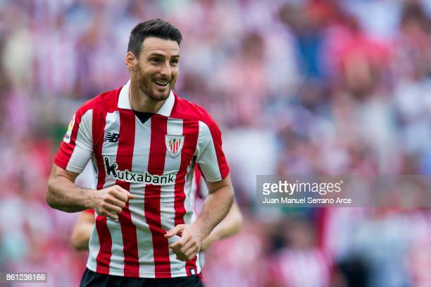 Aritz Aduriz of Athletic Club reacts during the La Liga match between Athletic Club Bilbao and Sevilla FC at San Mames Stadium on October 14 2017 in...