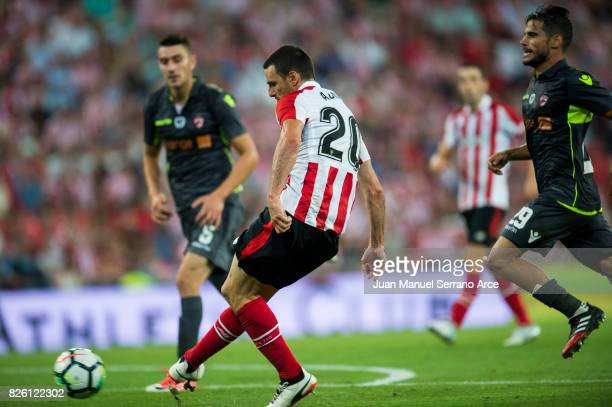 Aritz Aduriz of Athletic Club scoring his team's third goal during the UEFA Europa League Third Qualifying Round Second Leg match between Athletic...