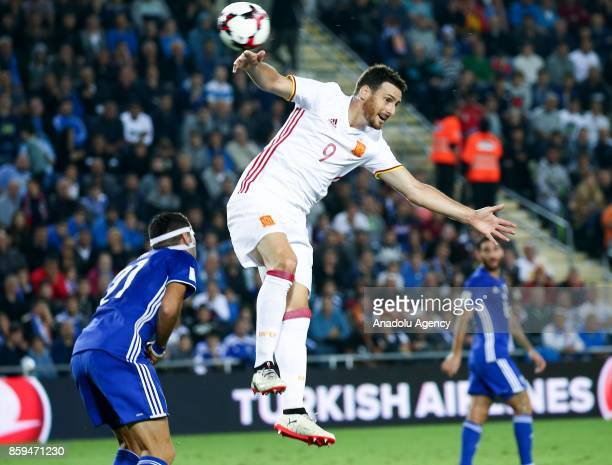 Aritz Aduriz of Spain in action against Eytan Tibi of Israel during the 2018 FIFA World Cup European Group G qualifying football match between Israel...