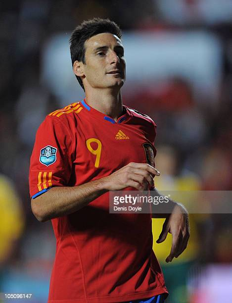Aritz Aduriz of Spain in action during the EURO 2012 Qualifying Group I match between Spain and Lithuania at the Helmantico stadium on October 8 2010...