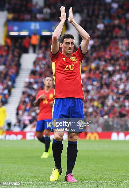 Aritz Aduriz of Spain reacts after missing a chance during the UEFA EURO 2016 Group D match between Spain and Czech Republic at Stadium Municipal on...