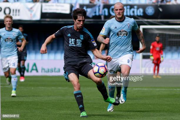 Aritz Elustondo defender of Real Sociedad de Futbol controls the ball during the La Liga Santander match between Celta de Vigo and Real Sociedad de...