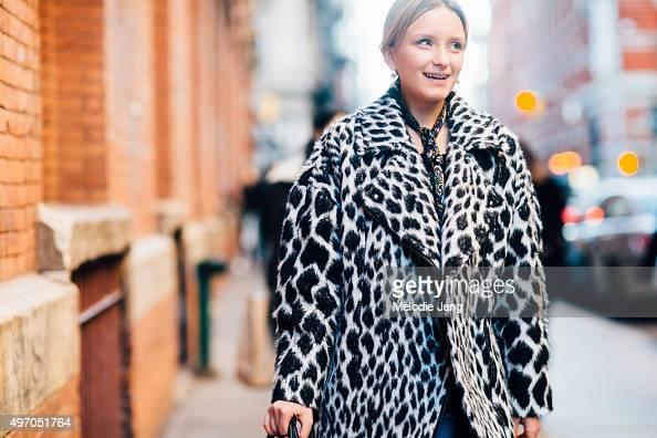 Aritzia Stylist Amanda Aljukic wears Banana Republic zebra print coat and ASOS paisley neckerchief in Soho on November 08 2015 in New York City