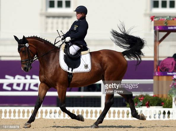 ArivaAvanti ridden by Angelika Trabert of Germany competes in the Dressage Individual Freestyle Test Grade II in the Equestrain on day 5 of the...