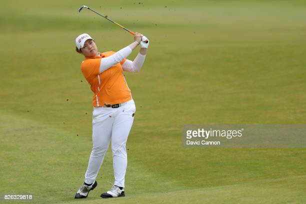 Ariya Jatunugam of Thailand hits her second shot on the 16th hole during the second round of the Ricoh Women's British Open at Kingsbarns Golf Links...