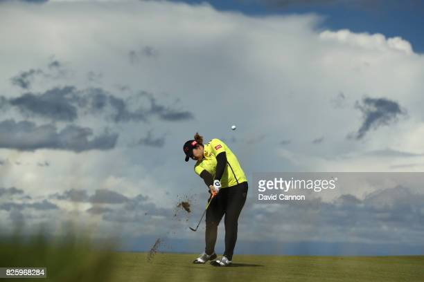 Ariya Jatunugam of Thailand hits her second shot on the 4th hole during the first round of the Ricoh Women's British Open at Kingsbarns Golf Links on...