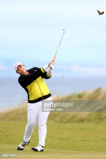Ariya Jatunugam of Thailand hits her second shot on the 4th hole during the second round of the Ricoh Women's British Open at Kingsbarns Golf Links...