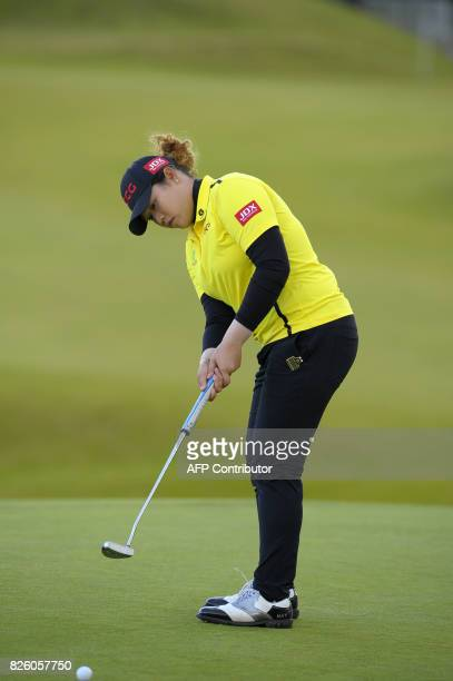 Ariya Jatunugam of Thailand putts on the 18th green on the first day of the 2017 Women's British Open Golf Championships at Kingsbarns Golf Links...