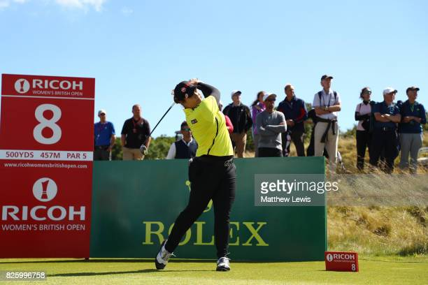 Ariya Jatunugam of Thailand tees off on the 8th hole during the first round of the Ricoh Women's British Open at Kingsbarns Golf Links on August 3...