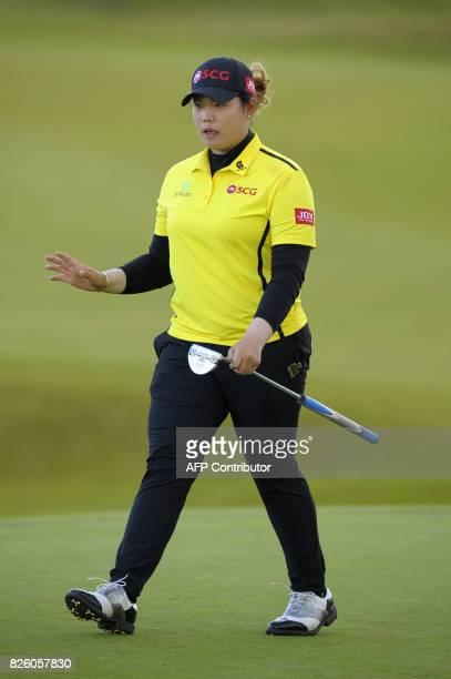 Ariya Jatunugam of Thailand walks on the 18th green on the first day of the 2017 Women's British Open Golf Championships at Kingsbarns Golf Links...