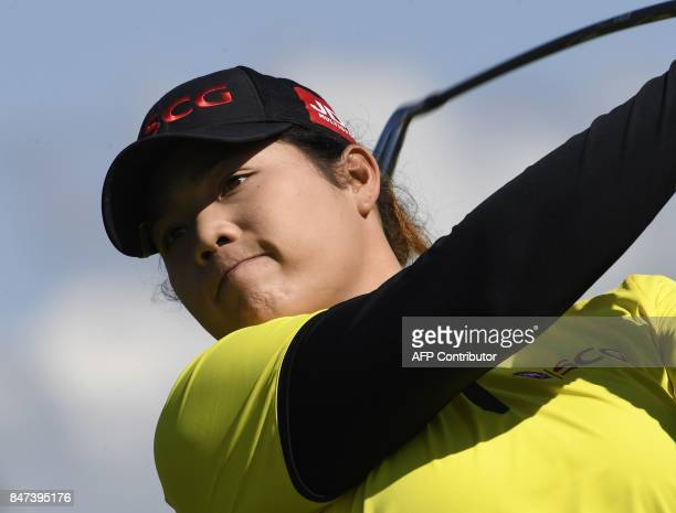 Ariya Jutanugam of Thailand competes during the Evian Championship golf tournament in the French Alps town of EvianlesBains southeastern France on...
