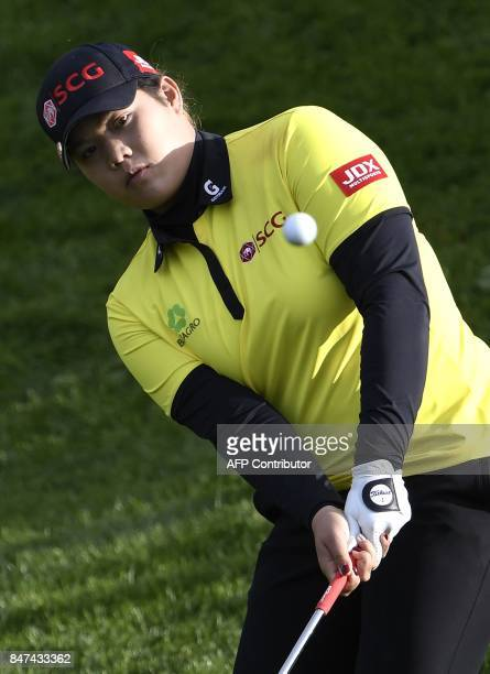 Ariya Jutanugarn from Thailand competes during the Evian Championship golf tournament in the French Alps town of EvianlesBains on September 15 2017 /...