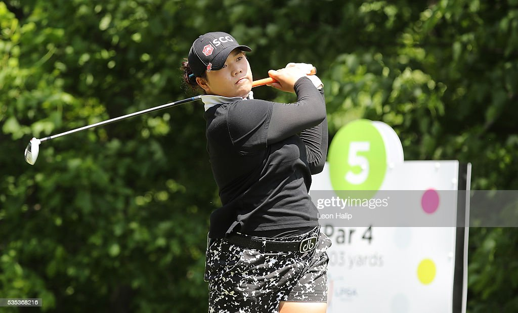 Aryia Jutanugarn from Thailand hits her tee shot on the fifth hole during the final round of the LPGA Volvik Championship on May 29, 2016 at Travis Pointe Country Club in Ann Arbor, Michigan.