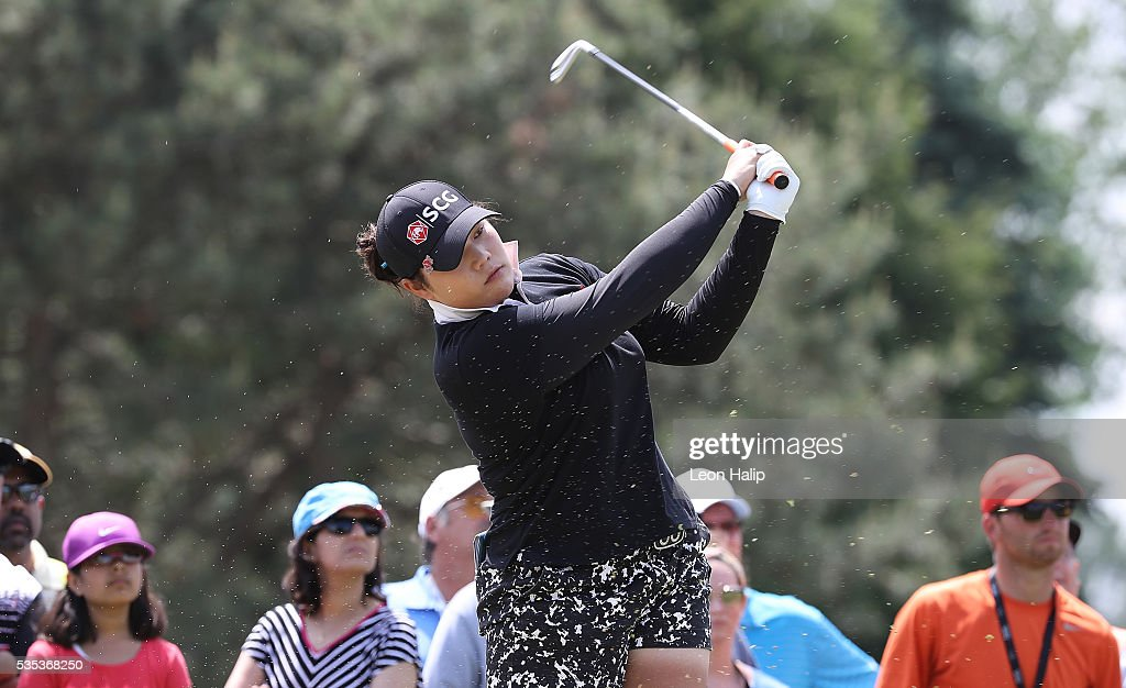 Aryia Jutanugarn from Thailand hits her tee shot on the seventh hole during the final round of the LPGA Volvik Championship on May 29, 2016 at Travis Pointe Country Club in Ann Arbor, Michigan.