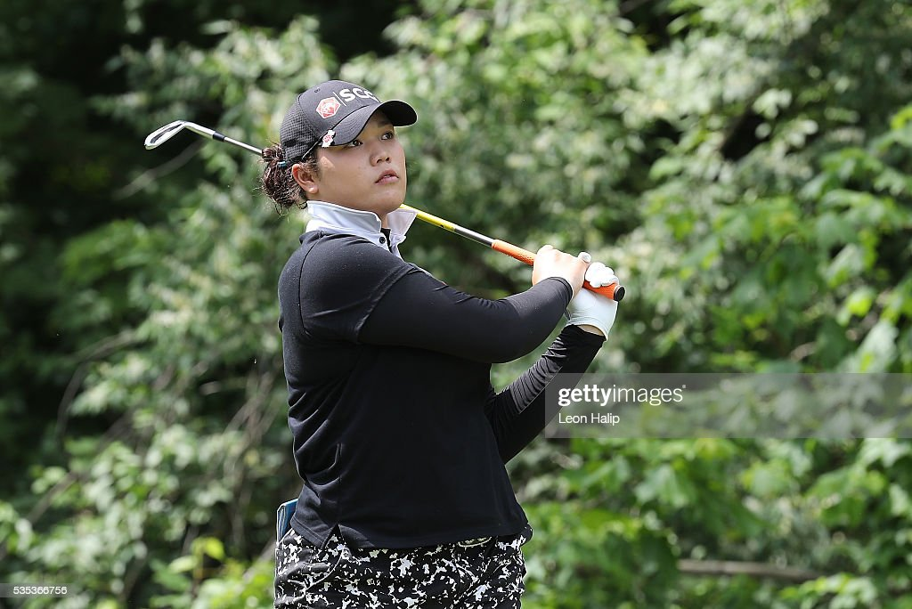 Aryia Jutanugarn from Thailand hits her tee shot on the sixth hole during the final round of the LPGA Volvik Championship on May 29, 2016 at Travis Pointe Country Club in Ann Arbor, Michigan.