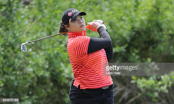 Ariya Jutanugarn from Thailand hits her tee shot to the third green during the third round of the LPGA Volvik Championship on May 28 2016 at Travis...