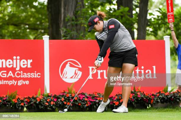 Ariya Jutanugarn hits her tee shot on the 12th hole during the second round of the Meijer LPGA Classic on June 16 2017 at the Blythefield Country...