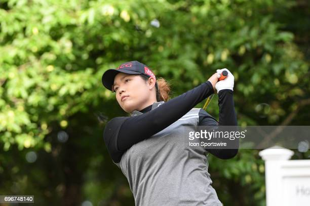 Ariya Jutanugarn hits her tee shot on the 13th hole during the second round of the Meijer LPGA Classic on June 16 2017 at the Blythefield Country...