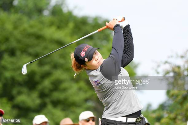 Ariya Jutanugarn hits her tee shot on the 18th hole during the second round of the Meijer LPGA Classic on June 16 2017 at the Blythefield Country...