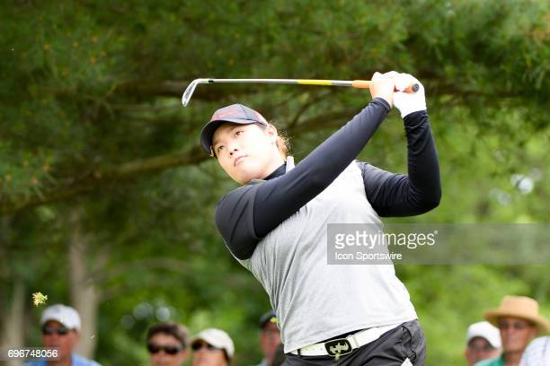 Ariya Jutanugarn hits her tee shot on the 2nd hole during the second round of the Meijer LPGA Classic on June 16 2017 at the Blythefield Country Club...