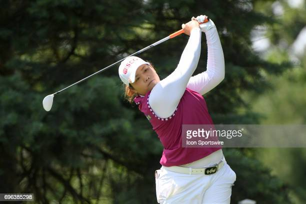 Ariya Jutanugarn hits her tee shot on the 9th hole during the first round of the Meijer LPGA Classic on June 15 2017 at the Blythefield Country Club...