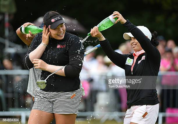 Ariya Jutanugarn of Thailand celebrates on the 18th hole after winning the final round of the Ricoh Women's British Open at Woburn Golf Club on July...