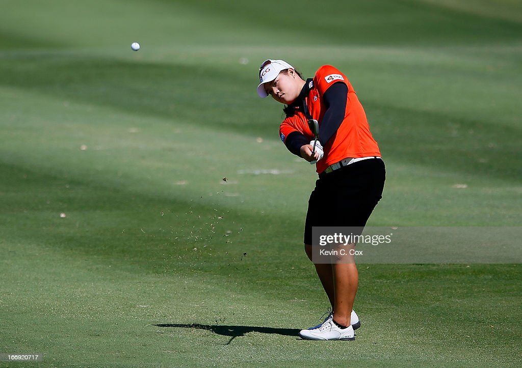Ariya Jutanugarn of Thailand chips onto the first green during the second round of the LPGA LOTTE Championship Presented by J Golf at the Ko Olina Golf Club on April 18, 2013 in Kapolei, Hawaii.