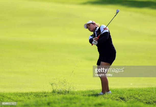 Ariya Jutanugarn of Thailand chips onto the third green during round one of the Canadian Pacific Women's Open at the Ottawa Hunt Golf Club on August...