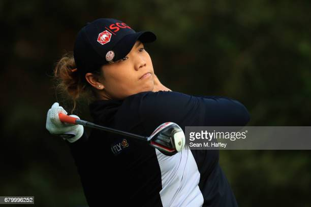 Ariya Jutanugarn of Thailand hits a shot on the second tee during the final round of the Citibanamex Lorena Ochoa Match Play Presented by Aeromexico...