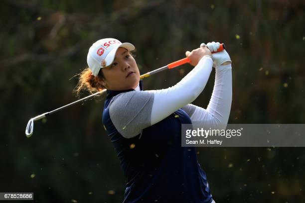 Ariya Jutanugarn of Thailand hits a shot on the third tee during the first round of the Citibanamex Lorena Ochoa Match Play Presented by Aeromexico...