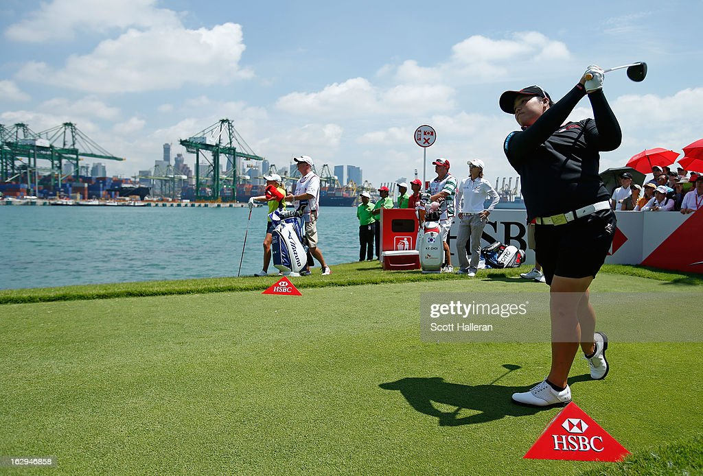 Ariya Jutanugarn of Thailand hits a tee shot during the third round of the HSBC Women's Champions at the Sentosa Golf Club on March 2, 2013 in Singapore, Singapore.