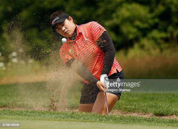 Ariya Jutanugarn of Thailand hits form a green side sand trap on the first hole during the third round of the Marathon Classic presented by Owens...