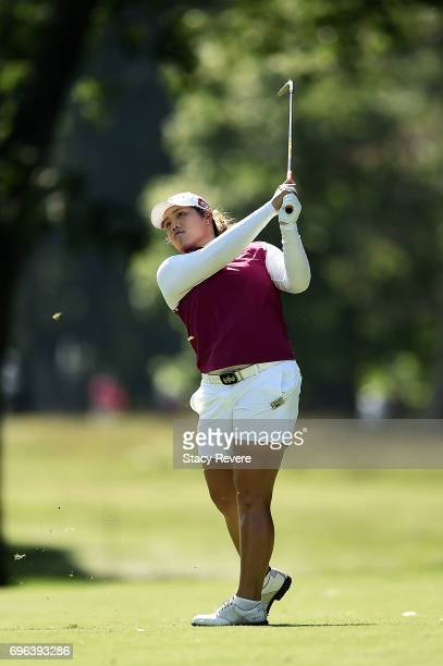 Ariya Jutanugarn of Thailand hits her approach shot on the 15th hole during the first round of the Meijer LPGA Classic at Blythefield Country Club on...
