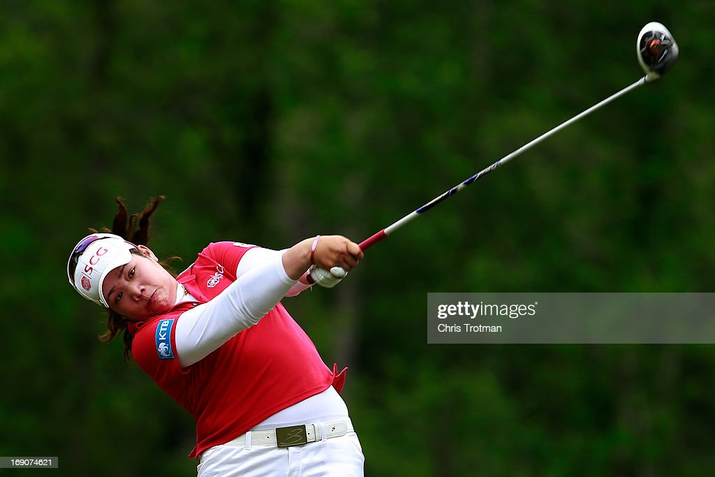 Ariya Jutanugarn of Thailand hits her drive on the 4th hole during the final round of the Mobile Bay LPGA Classic at the Crossings Course at the Robert Trent Jones Trail at Magnolia Grove on May 19, 2013 in Mobile, Alabama.
