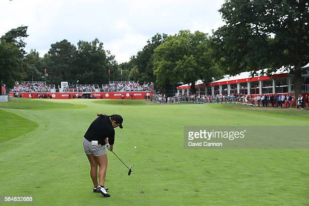 Ariya Jutanugarn of Thailand hits her second shot on the 18th hole during the final round of the Ricoh Women's British Open at Woburn Golf Club on...