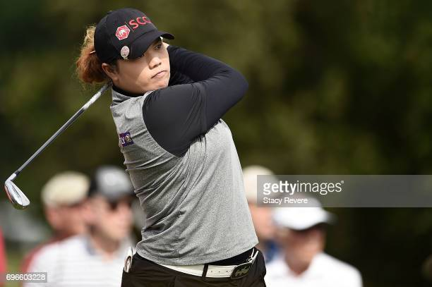 Ariya Jutanugarn of Thailand hits her tee shot on the 16th hole during the second round of the Meijer LPGA Classic at Blythefield Country Club on...