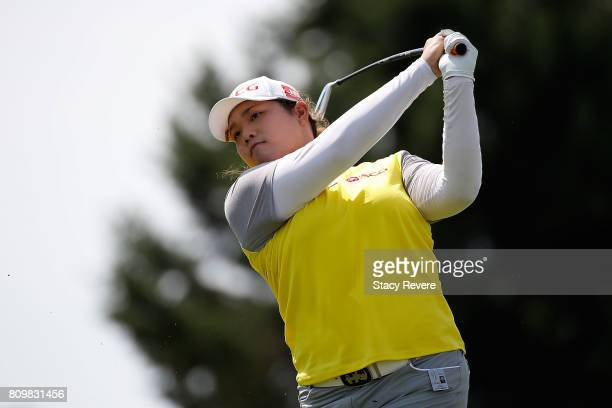 Ariya Jutanugarn of Thailand hits her tee shot on the 16th hole during the first round of the Thornberry Creek LPGA Classic at Thornberry Creek at...