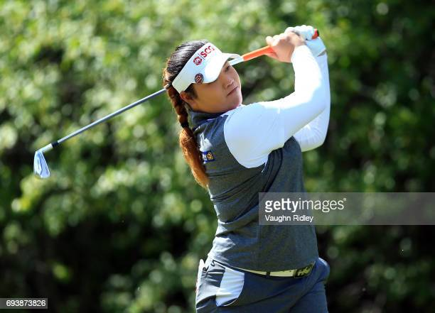 Ariya Jutanugarn of Thailand hits her tee shot on the 18th hole during the first round of the Manulife LPGA Classic at Whistle Bear Golf Club on June...